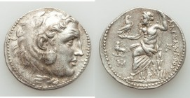 IONIA. Miletus. Ca. late 3rd-early 2nd centuries BC. AR tetradrachm (31mm, 16.98 gm, 1h). XF, Fine Style, graffito. Posthumous issue in the name and t...