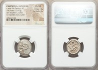 PAMPHYLIA. Aspendus. Ca. mid-5th century BC. AR stater (18mm, 10.97 gm, 11h). NGC Choice VF 4/5 - 4/5. Helmeted hoplite warrior advancing right, shiel...