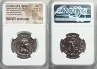 INDO-GREEK KINGDOMS. Bactria. Apollodotus II (ca. 80-65 BC). AR Indic tetradrachm (28mm, 9.64 gm, 12h). NGC AU 5/5 - 3/5. ΒΑΣΙΛΕΩΣ ΜΕΓΑΛΟΥ ΣΩΤΗΡΩΣ ΚΑΙ...