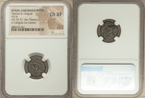 SPAIN. Carthago Nova. Tiberius (AD 14-37), with Caligula as Caesar as duovir quinquennalis. AE quadrans (16mm, 6h). NGC Choice XF. Ca. AD 35-37. TI CA...