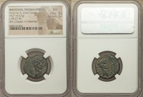MACEDON. Thessalonica. Octavian and Divus Julius Caesar (28/7 BC). AE (21mm, 8.27 gm, 11h). NGC AU 4/5 - 3/5. ΘEOC, laureate head of Divus Julius Caes...