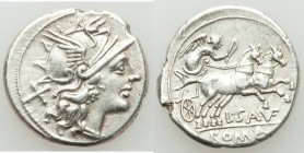 L. Saufeius (ca. 152 BC). AR denarius (19mm, 3.80 gm, 2h). XF. Rome. Head of Roma right, wearing winged helmet decorated with griffin crest; X behind ...