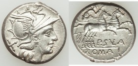 P. Cornelius Sulla (ca. 151 BC). AR denarius (19mm, 3.37 gm, 5h). XF. Rome. Head of Roma right, wearing winged helmet decorated with griffin crest; X ...