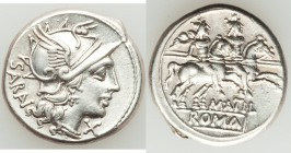 M. Atilius Saranus (ca. 145 BC). AR denarius (19mm, 4.05 gm, 4h). XF. Rome. SARAN (AN ligate), head of Roma right in winged helmet decorated with grif...