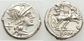 Anonymous (ca. 143 BC). AR denarius (18mm, 3.90 gm, 8h). Choice XF. Rome. Head of Roma right, wearing winged helmet decorated with griffin crest; X (m...