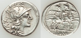 L. Julius (ca. 141 BC). AR denarius (19mm, 3.93 gm, 6h). XF. Rome. Head of Roma right, wearing winged helmet decorated with griffin crest; XVI (mark o...