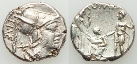 Ti. Veturius (ca. 137 BC). AR denarius (19mm, 3.86 gm, 12h). XF. Rome. TI•VET (VET ligate), helmeted, draped bust of Mars right; X (mark of value) beh...