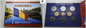 Andorra.  AD 2003. 9 coins. Mint Set