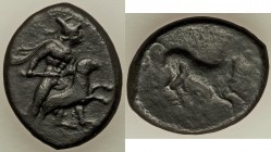 SICILY. Gela. Ca. 339-310 BC. AE litra (21mm, 9.90 gm, 4h). VF. Warrior standing right, nude except for helmet and cloak, about to sacrifice a ram / H...