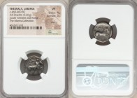 THESSALY. Larissa. Ca. 460-400 BC. AR drachm (18mm, 5.81 gm, 6h). NGC VF 4/5 - 3/5, marks. Thessalus standing right, nude but for chlamys over shoulde...