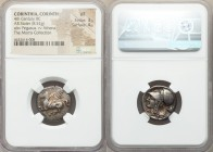 CORINTHIA. Corinth. Ca. 345-300 BC. AR stater (20mm, 8.52 gm, 11h). NGC VF 3/5 - 4/5. Pegasus flying left; Ϙ below / Head of Athena left, wearing Cori...