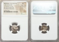 BITHYNIA. Calchedon. Ca. 367/6-340 BC. AR drachm (14mm, 3.81 gm). NGC AU 4/5 - 5/5. KAΛX, bull standing left on grain ear; caduceus and ΔΑ monogram to...