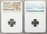 CARIA. Cnidus. Ca. 250-210 BC. AR tetrobol (13mm, 2.47 gm, 11h). NGC Choice VF 4/5 - 4/5, die shift. Rhodian standard. Diocles, magistrate. Bust of Ar...
