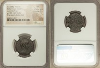 AEOLIS. Aegae. Britannicus (died AD 55). AE (23mm, 6.91 gm, 5h). NGC VF 4/5 - 3/5. Dated Year 100 (AD 53/4). BPЄTANNIKOΣ, bareheaded, draped bust of B...