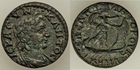 AEOLIS. Cyme. Time of Valerian and Gallienus (AD 253-260). Pseudo-autonomous issue. AE (22mm, 4.87 gm, 6h). VF. Elpidephoros, magistrate. IЄPA CVNKΛHT...