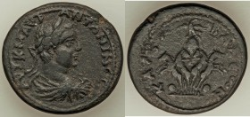 CILICIA. Hierapolis-Castabala. Elagabalus (AD 218-222). AE (32mm, 19.08 gm, 12h). VF. Laureate and draped bust right / Facing spread quadriga, carryin...