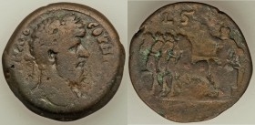 EGYPT. Alexandria. Lucius Verus (AD 161-169). AE drachm (32mm, 19.48 gm, 12h). Fine. Dated Regnal Year 6 (AD 165/6). Laureate head right / Serapis in ...