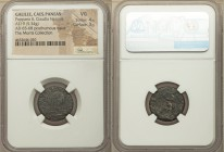 JUDAEA. Galilee. Caesarea Paneas. Diva Poppaea and Diva Claudia Neronis. AE (19mm, 5.34 gm, 12h). NGC VG 4/5 - 3/5. Struck under Nero, ca. AD 65-68. D...