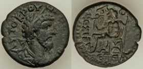 JUDAEA. Nicopolis-Emmaus. Lucius Verus (AD 161-169). AE (22mm, 7.13 gm, 11h). XF. Dated Civic Year 91 (AD 161/2). AYTOKPOY-HPOC CEB, laureate, draped,...