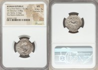 M. Lucilius Rufus (101 BC). AR denarius (21mm, 3.88 gm, 7h). NGC MS 4/5 - 5/5. Rome. Head of Roma right, wearing winged helmet decorated with griffin ...