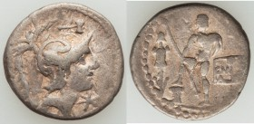 C. Malleolus, A. Albinus Sp.f., and L. Caecilius Metellus. (96 BC). AR denarius (19mm, 3.83 gm, 6h). About VF. Rome mint. Helmeted head of Mars right;...