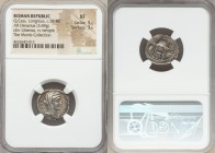 Q. Cassius Longinus (55 BC). AR denarius (19mm, 3.69 gm, 7h). NGC XF 5/5 - 3/5. Rome. Q•CASSIVS behind, VEST before, diademed and veiled head of Vesta...