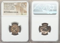 Mn. Acilius Glabrio (49 BC) AR denarius (19mm, 3.68 gm, 10h). NGC Choice AU 4/5 - 2/5. Rome. Laureate head of Salus right, wearing cruciform earring a...