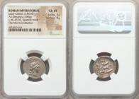 Julius Caesar, as Dictator (49-44 BC). AR denarius (20mm, 3.86 gm, 2h). NGC Choice XF 5/5 - 4/5. Military mint traveling with Caesar in Spain, late 46...