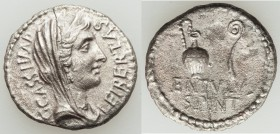 C. Cassius Longinus, Imperator and Assassin of Caesar (44-42 BC). AR denarius (19mm, 3.25 gm, 7h). NGC (photo-certificate) Choice AU 5/5 - 2/5. Milita...