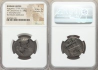 Augustus (27 BC-AD 14). AR cistophorus (26mm, 11.58 gm, 11h). NGC Fine 4/5 - 4/5. Pergamum, 19-18 BC. IMP•IX•TR•-PO V, bare head of Augustus right / S...
