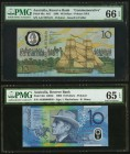 Australia Australia Reserve Bank 10 Dollars 1988; 2006 Pick 49a Commemorative; 58c Two Examples Commemorative PMG Gem Uncirculated 66 EPQ; Gem Uncircu...