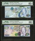 Bahamas Central Bank 10; 100 Dollars 2005; 2009 Pick 73; 76 Two Examples PMG Gem Uncirculated 65 EPQ; Gem Uncirculated 66 EPQ.   HID09801242017