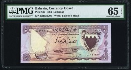 Bahrain Currency Board 1/2 Dinar 1964 Pick 3a PMG Gem Uncirculated 65 EPQ.   HID09801242017