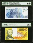 Belgium Banque National de Belgique 500; 200 Francs ND (1982-98); ND (1995) Pick 143; 148 PMG Gem Uncirculated 65 EPQ; Gem Uncirulated 66 EPQ.   HID09...
