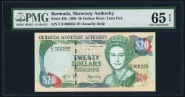 Bermuda Bermuda Monetary Authority 20 Dollars 1999 Pick 43b PMG Gem Uncirculated 65 EPQ.   HID09801242017