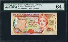 Bermuda Monetary Authority 100 Dollars 24.5.2000 Pick 55a PMG Choice Uncirculated 64 EPQ.   HID09801242017