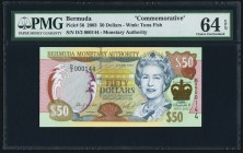 Bermuda Monetary Authority 50 Dollars 2.6.2003 Pick 56 Commemorative PMG Choice Uncirculated 64 EPQ.   HID09801242017