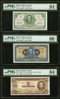 Bolivia Banco Central 5; 10; 5 Bolivianos 1928 (2); 1945 Pick 129; 130; 138a PMG Choice Uncirculated 64 EPQ (2); Gem Uncirculated 66 EPQ.   HID0980124...