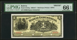 Bolivia Banco Industrial 1 Boliviano 1.1.1906 Pick S161fp Front Proof PMG Gem Uncirculated 66 EPQ. Four POCs.  HID09801242017