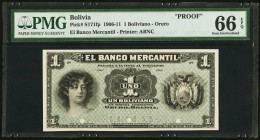Bolivia Banco Mercantil 1 Boliviano 1906-11 Pick S171fp Front Proof PMG Gem Uncirculated 66 EPQ. Three POCs.  HID09801242017