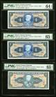 Brazil Tesouro Nacional Lot Of Six PMG Graded Examples. 1 Cruzeiro ND (1954-58) Pick 150b; 150c Two Examples PMG Choice Uncirculated 64 EPQ; Gem Uncir...