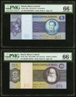 Brazil Banco Central Do Brasil 5; 10 Cruzeiros ND (1974); ND (1980) Pick 192c; 193e Two Examples PMG Gem Uncirculated 66 EPQ.   HID09801242017
