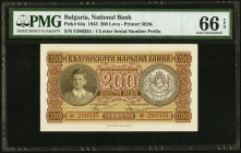 Bulgaria Bulgarian National Bank 200 Leva 1943 Pick 64a PMG Gem Uncirculated 66 EPQ.   HID09801242017