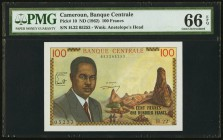 Cameroon Banque Centrale 100 Francs ND (1962) Pick 10 PMG Gem Uncirculated 66 EPQ.   HID09801242017