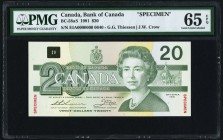 Canada Bank of Canada $20 1991 BC-58aS Specimen PMG Gem Uncirculated 65 EPQ.   HID09801242017