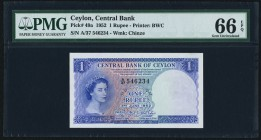 Ceylon Central Bank of Ceylon 1 Rupee 3.6.1952 Pick 49a PMG Gem Uncirculated 66 EPQ.   HID09801242017