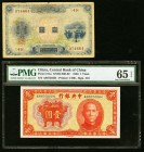 China Bank of Taiwan Limited 1 Yen ND (1915) Pick 1921 Fine; China Central Bank of China 1 Yuan 1936 Pick 211a PMG Gem Uncirculated 65 EPQ. Edge split...