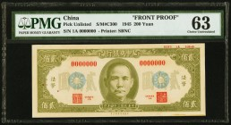 China Central Bank of China 200 Yuan 1945 Pick UNL S/M#C300 Front Proof PMG Choice Uncirculated 63. Green color variation; foreign substance.  HID0980...