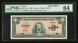 Cuba Banco Nacional de Cuba 10 Pesos 1949 Pick 79s1 Specimen PMG Choice Uncirculated 64. Two POCs.  HID09801242017
