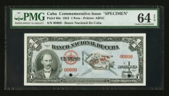 "Cuba Banco Nacional de Cuba 1 Peso 1953 Pick 86s ""Commemorative Issue"" Specimen PMG Choice Uncirculated 64 EPQ. Two POCs.  HID09801242017"